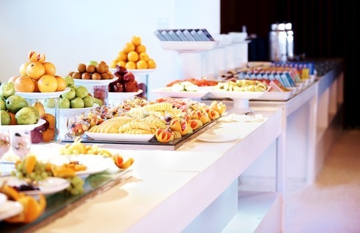 Stock Photo: 4197R-53663 Image of variety of fancy salads and food displayed at buffet at restaurant
