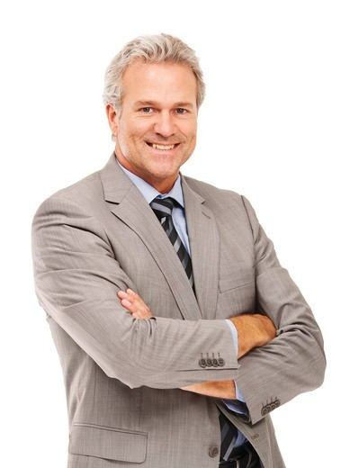 Stock Photo: 4197R-55808 Portrait of a successful businessman with his arms folded