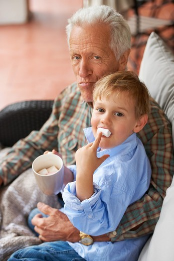 Portrait of a grandfather sitting with his grandson at home : Stock Photo