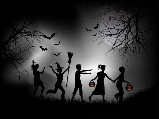 Stock Photo: 4198R-107 Children playing on Halloween night