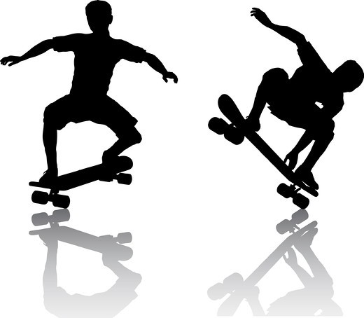 Stock Photo: 4198R-1744 skateboarders