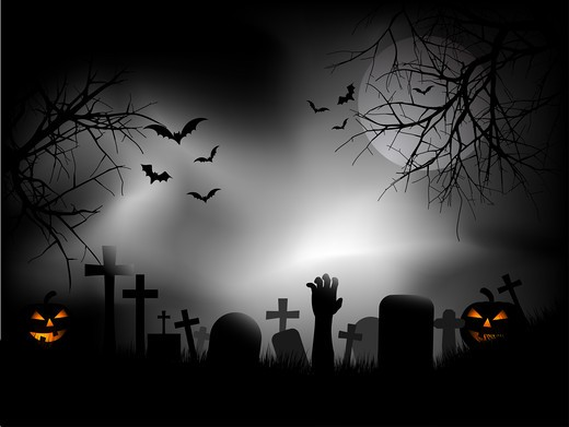 Spooky graveyard with zombie hand coming out of the ground : Stock Photo