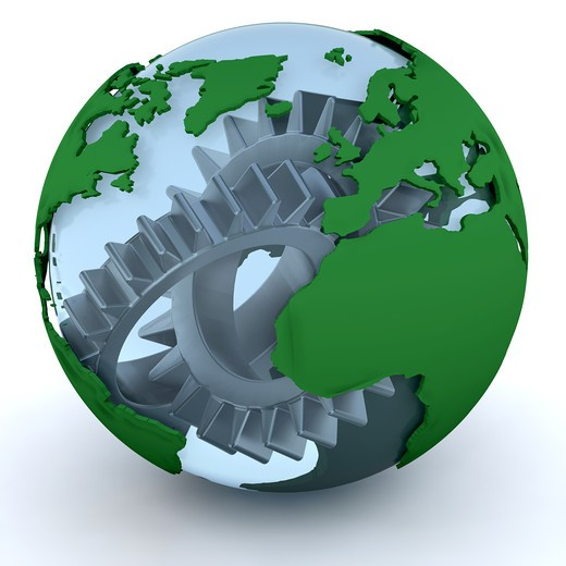 Stock Photo: 4198R-2558 3D render of a globe with gears inside