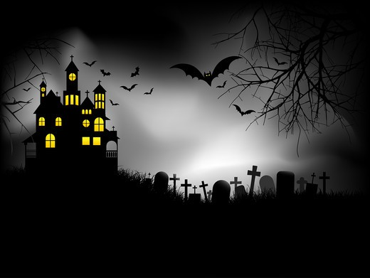 Haunted house on Halloween night : Stock Photo
