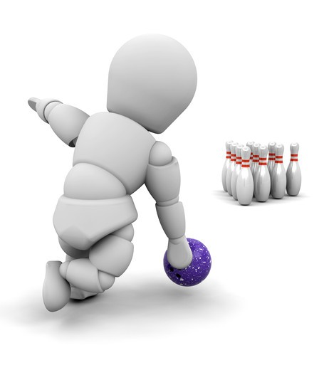 Stock Photo: 4198R-746 3D render of someone ten pin bowling