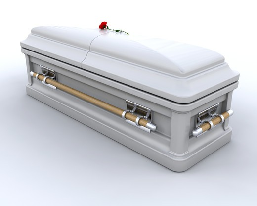 Stock Photo: 4198R-830 3D render of an ornate coffin