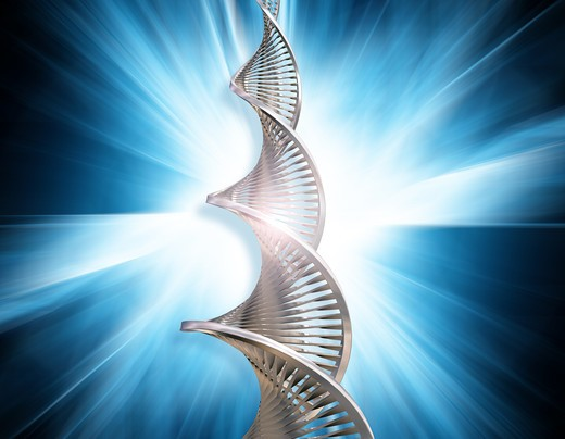 DNA strands on abstract blur background : Stock Photo