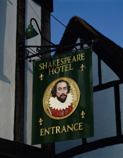 Low angle view of a sign of a hotel, Shakespeare Hotel, Stratford-upon-Avon, Warwickshire, England : Stock Photo