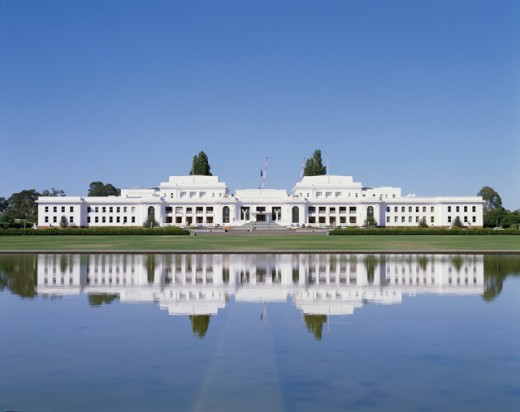 Stock Photo: 42-1266 Building on the waterfront, Parliament House, Canberra, Australia