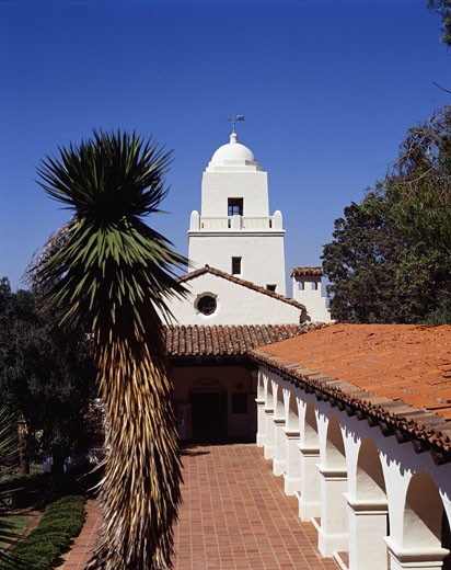 Stock Photo: 42-1563 Low angle view of a museum, Junipero Serra Museum, San Diego, California, USA