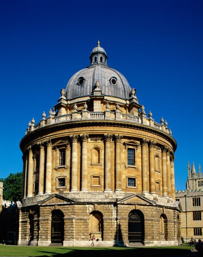 Facade of a educational building, Radcliffe Camera, Oxford, England : Stock Photo