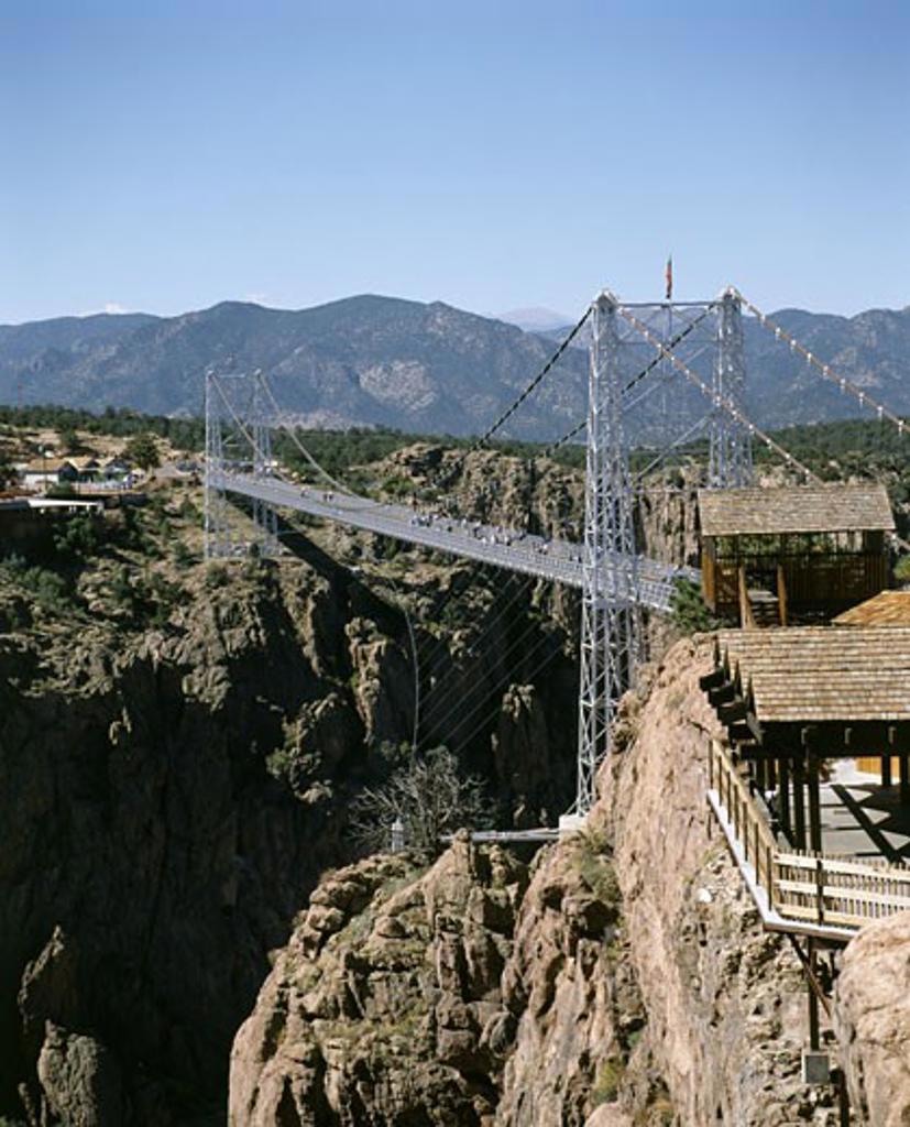 High angle view of a bridge, Royal Gorge Bridge, Canon City, Colorado, USA : Stock Photo