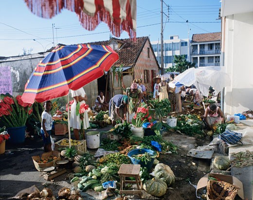Group of people in a street market, Fort-de-France, Martinique : Stock Photo