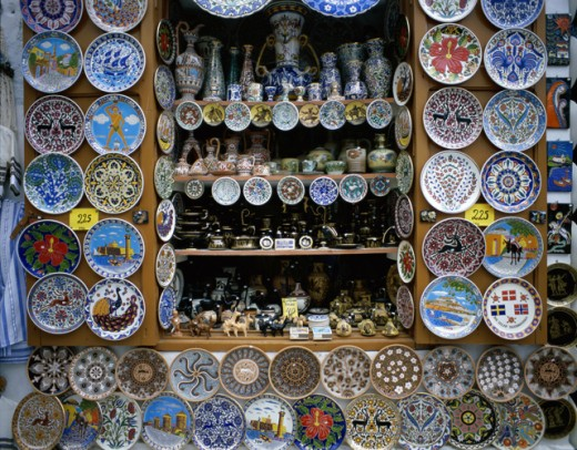 Crockery displayed at a market stall, Lindos, Rhodes, Dodecanese Islands, Greece : Stock Photo