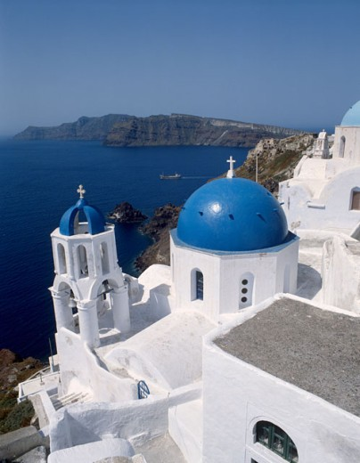 Stock Photo: 42-2813 High angle view of a church, Santorini, Greece