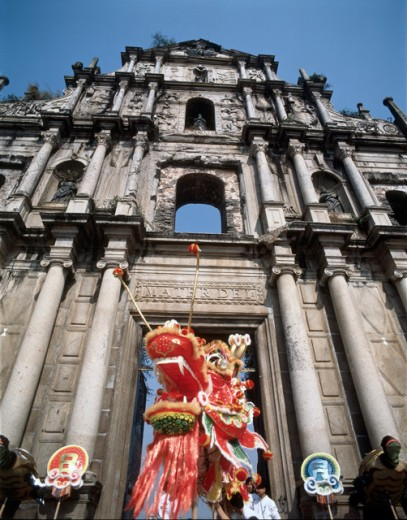 Stock Photo: 42-3011 Dragon dance during Chinese New Year, St. Paul's Cathedral, Macao, China