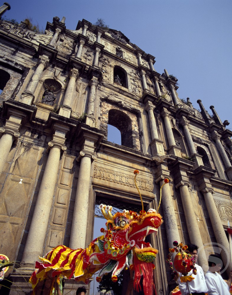 Dragon dance during Chinese New Year, St. Paul's Cathedral, Macao, China : Stock Photo