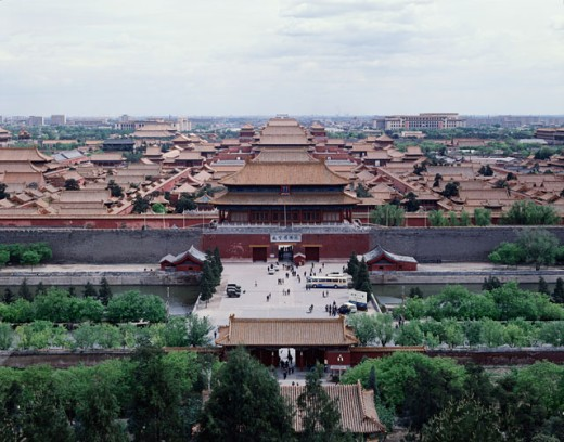 Stock Photo: 42-3142 High angle view of a palace, Forbidden City, Beijing, China