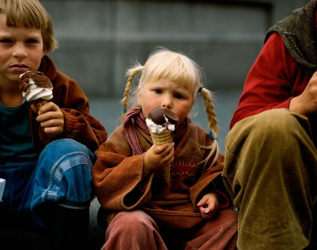 Stock Photo: 42-3290 Boy and a girl eating ice cream, Copenhagen, Denmark