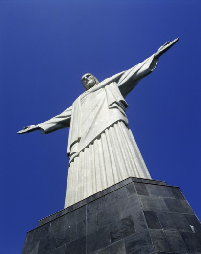 Low angle view of a statue, Christ the Redeemer, Mount Corcovado, Rio de Janeiro, Brazil : Stock Photo