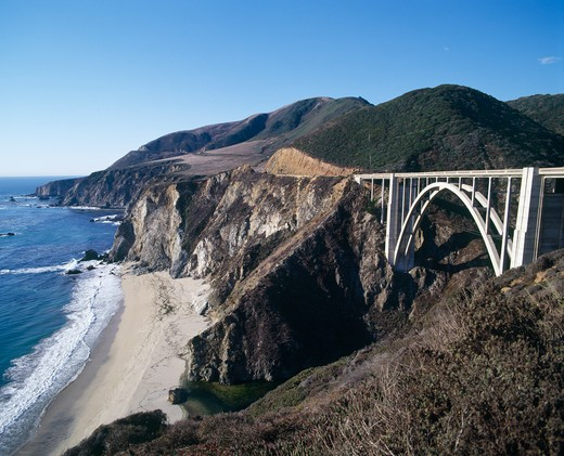 Stock Photo: 42-4213 Bridge across a cliff, Bixby Bridge, Big Sur, California, USA