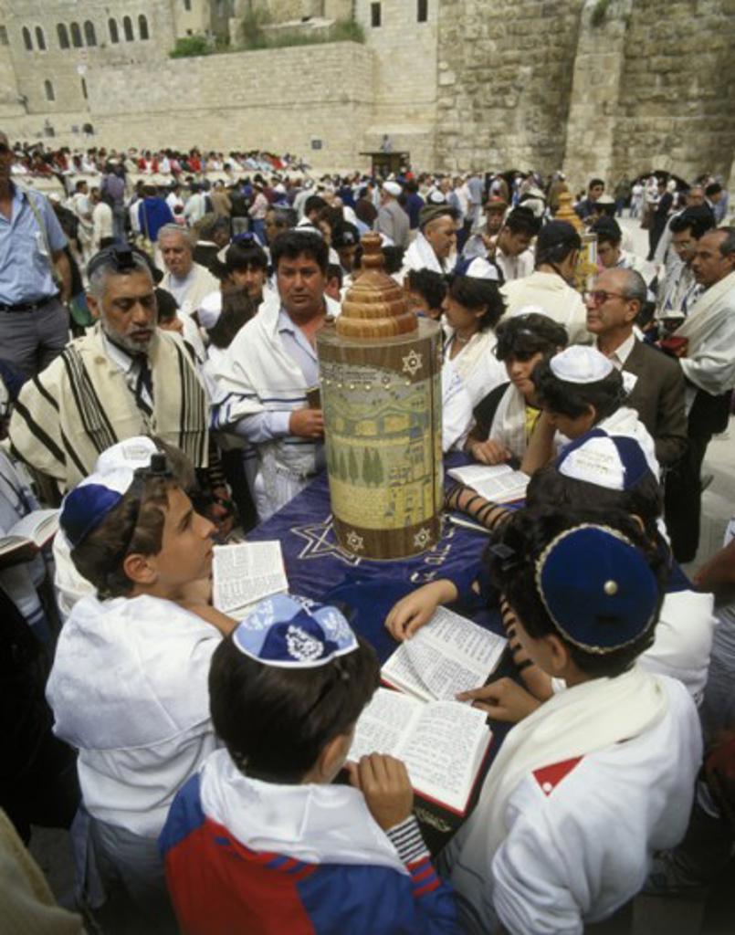 Stock Photo: 42-4495 Group of people at a bar mitzvah, Wailing Wall, Jerusalem, Israel