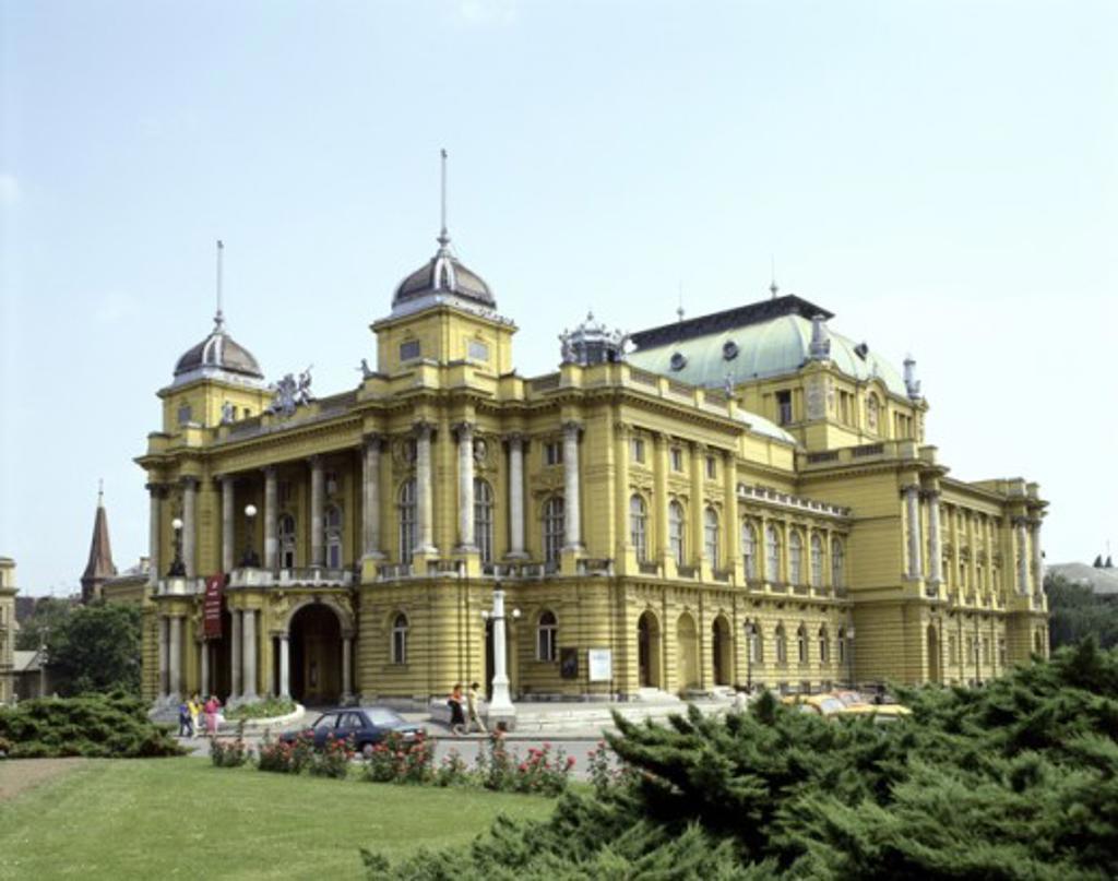 Facade of a theatre, Croatian National Theatre, Zagreb, Croatia : Stock Photo