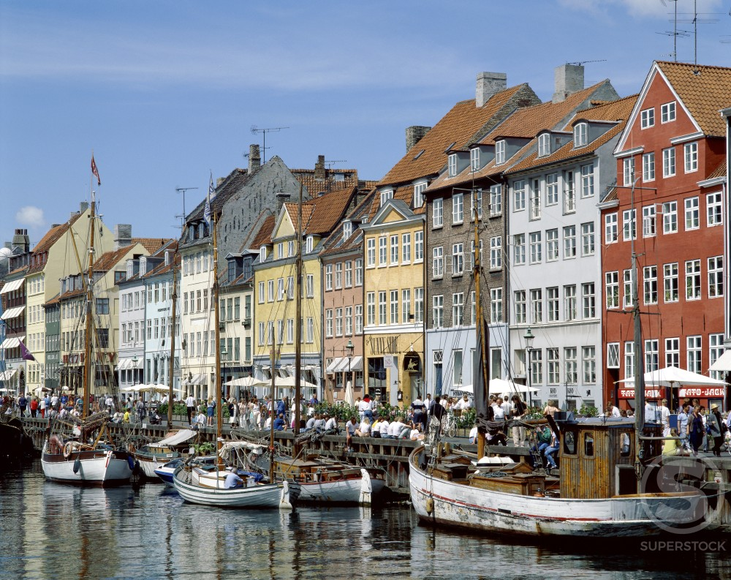 Townhouses on the waterfront, Nyhavn, Copenhagen, Denmark : Stock Photo