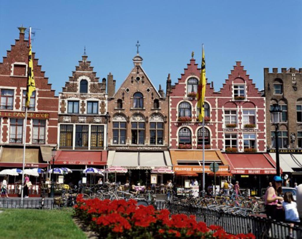 Buildings in a city, Grote Markt, Brugge, Belgium : Stock Photo