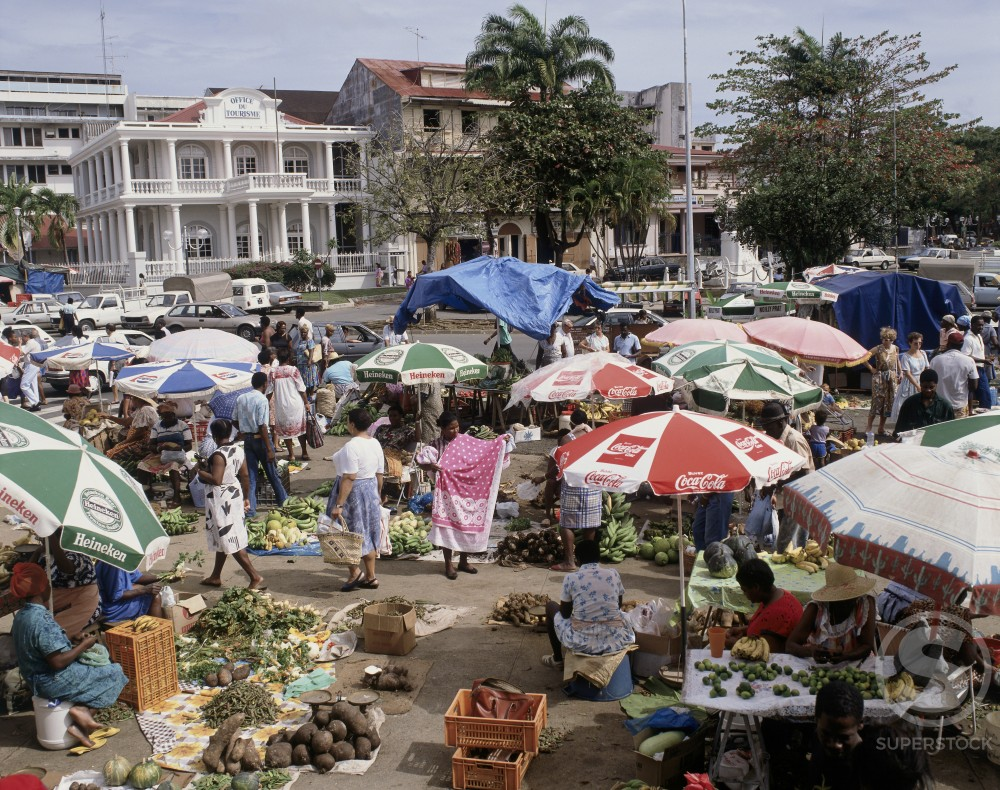 Stock Photo: 42-6243B Group of people in a market, Pointe-A-Pitre, Guadeloupe