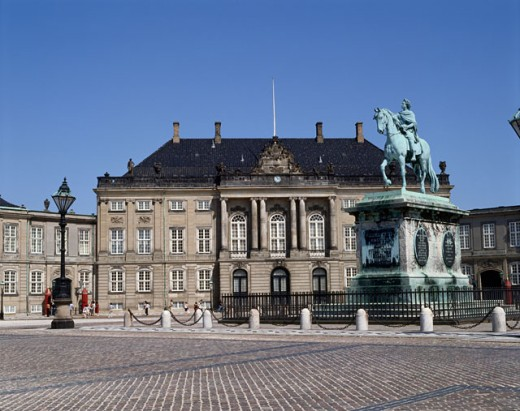 Statue in front of a palace, Amalienborg Palace, Copenhagen, Denmark : Stock Photo