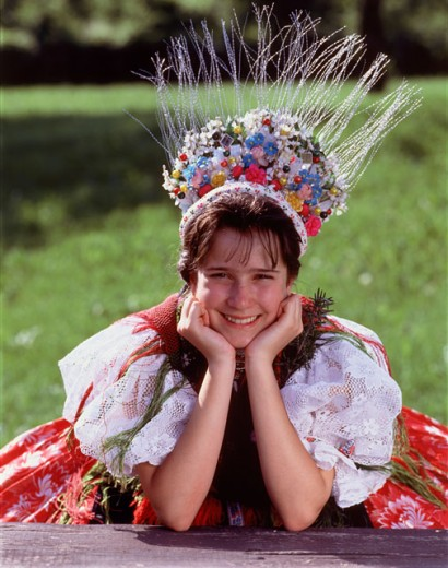 Stock Photo: 42-6876 Portrait of a girl smiling, Hungary