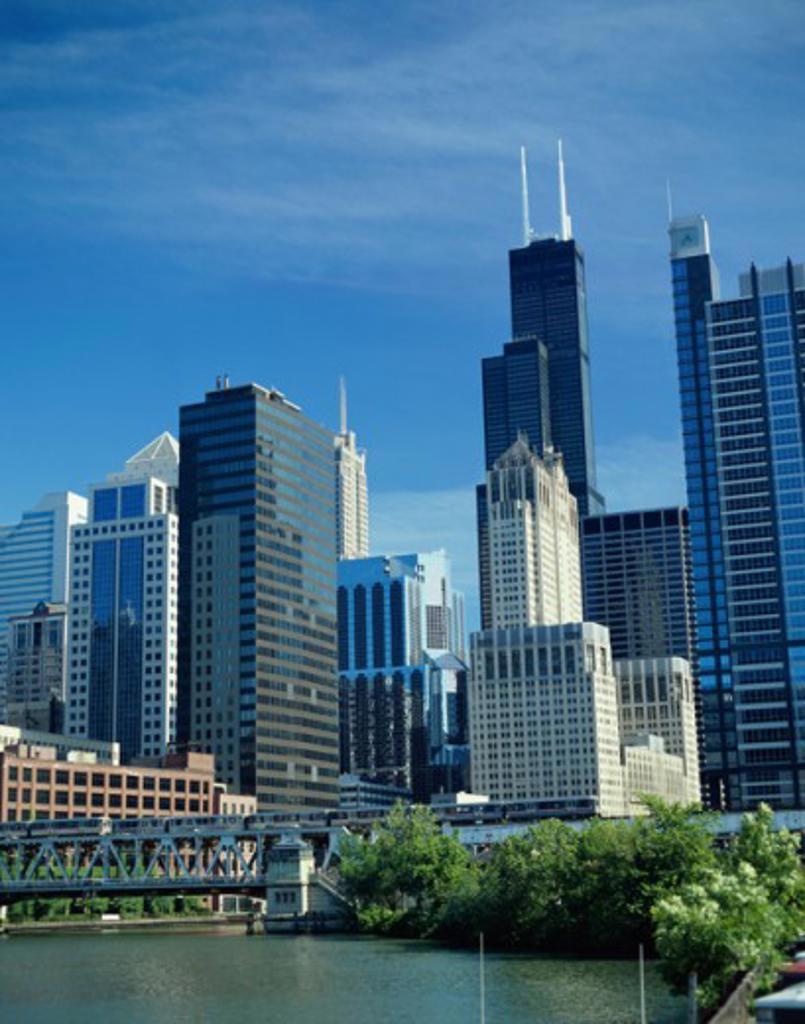 Train crossing a bridge, Chicago River, Chicago, Illinois, USA : Stock Photo