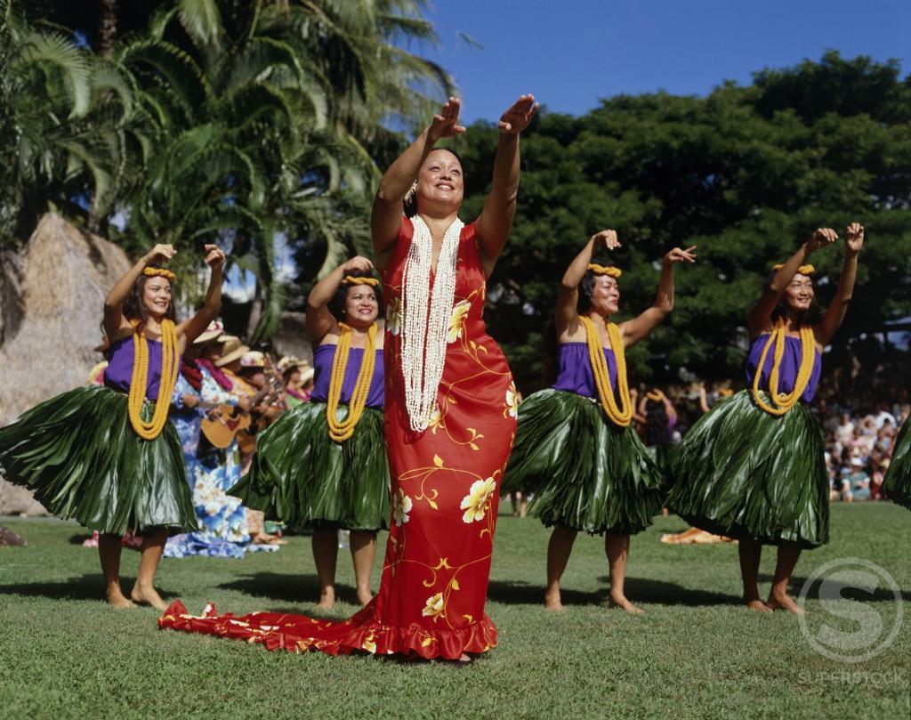 Stock Photo: 42-8010 Hula dancers dancing, Kodak Hula Show, Oahu, Hawaii, USA