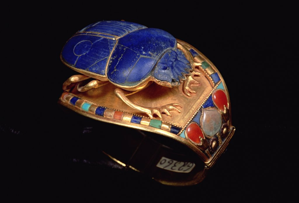 King Tut's bracelet with scarab, Cairo Museum, Egypt : Stock Photo