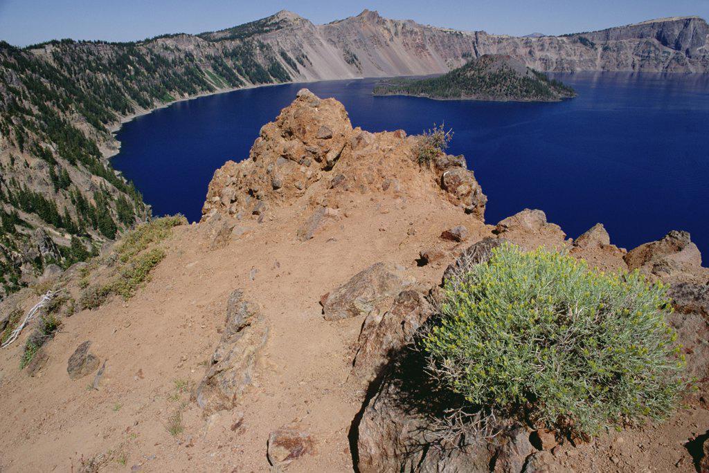 Stock Photo: 4201-31327 Wizard Island and lake shore, Mt Mazama, Crater Lake National Park, Oregon