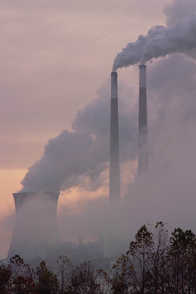 Gas effluence from nuclear power plant, upper Ohio River, Ohio : Stock Photo