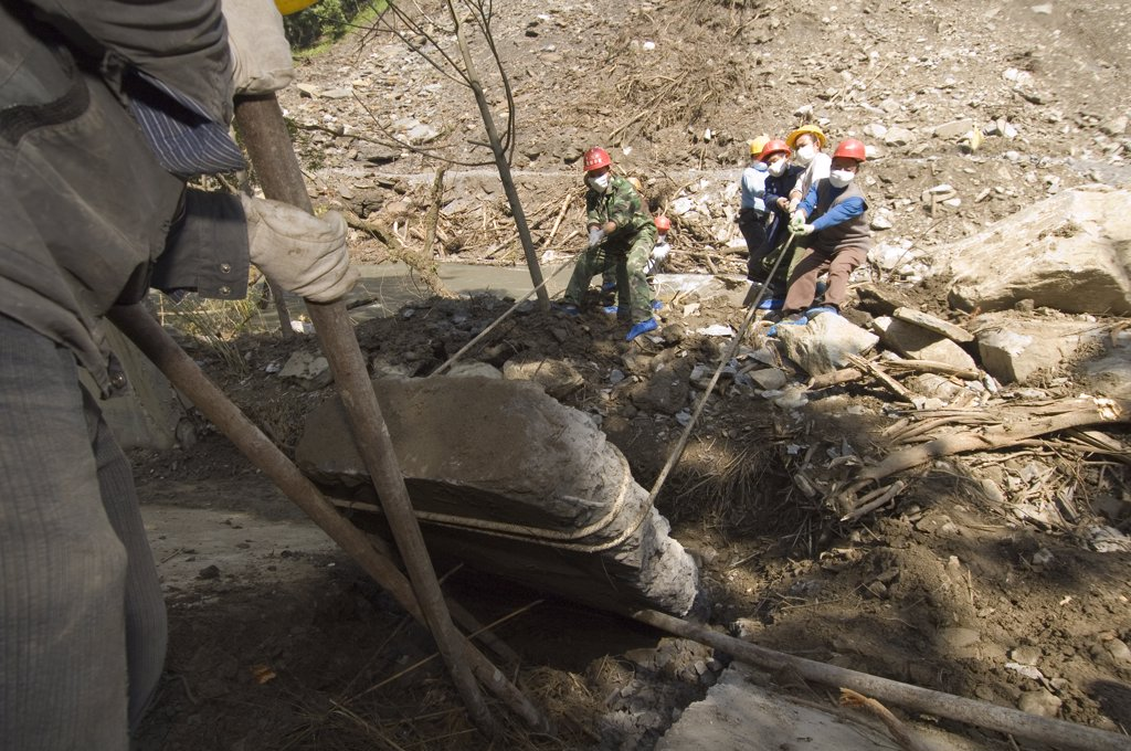 Stock Photo: 4201-32595 Giant Panda (Ailuropoda melanoleuca) enclosure excavated by workers to locate Mao Mao's body after the May 12, 2008 earthquake and landslides, CCRCGP, Wolong, China