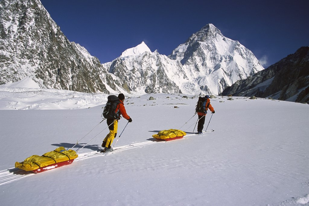 Pulling sledges towards K2, second highest peak in the world, across Godwin Austen Glacier, Karakoram Mountains, Pakistan : Stock Photo