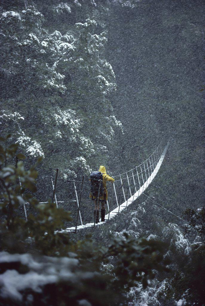 Stock Photo: 4201-37655 Backpacker crossing bridge in snowstorm, Lake Christobel, Lewis Pass, New Zealand