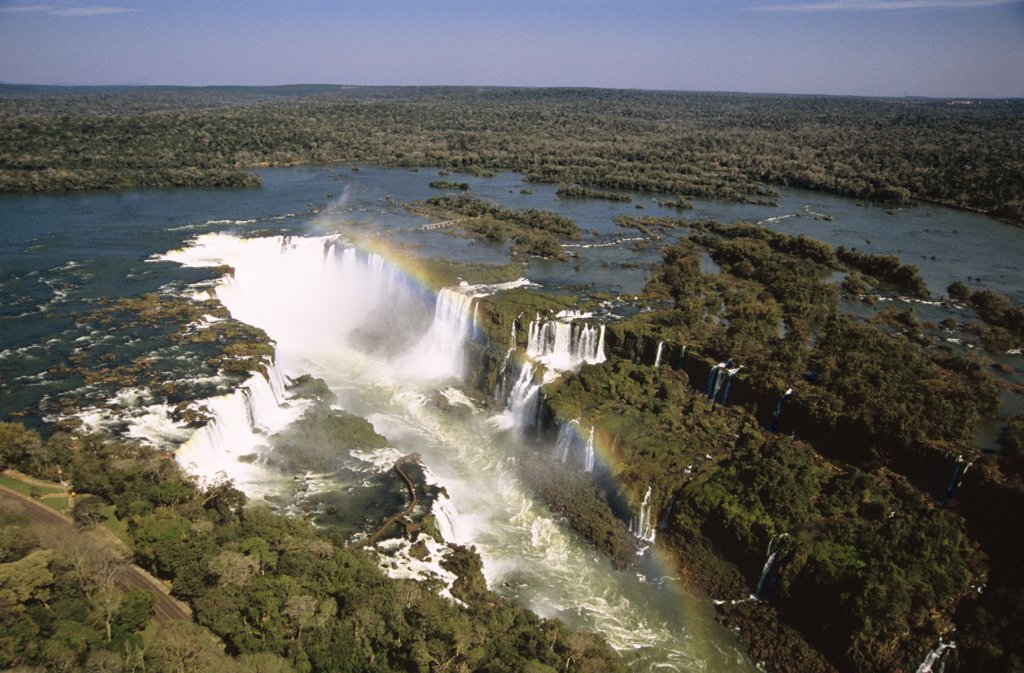 Aerial view over the Iguacu Falls, one of the world's largest waterfalls, Brazil and Argentina border : Stock Photo