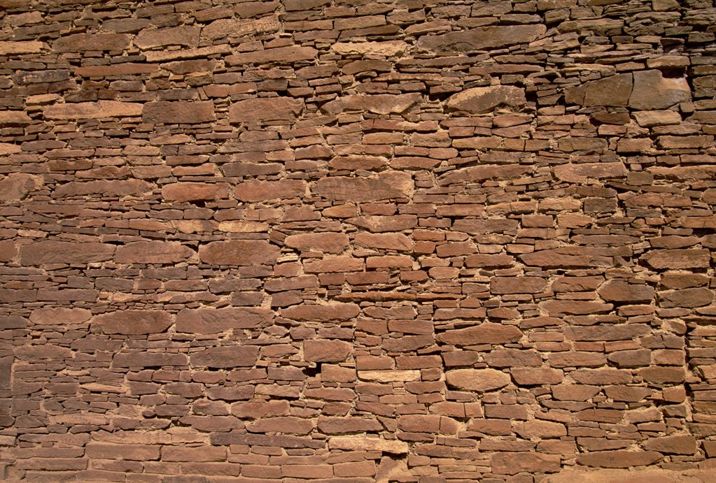 Stonework of ruins of monumental public buildings called Pueblo Bonito, ancestral Puebloan culture, AD 850-1250, Chaco Canyon, Chaco Culture National Historical Park, New Mexico : Stock Photo