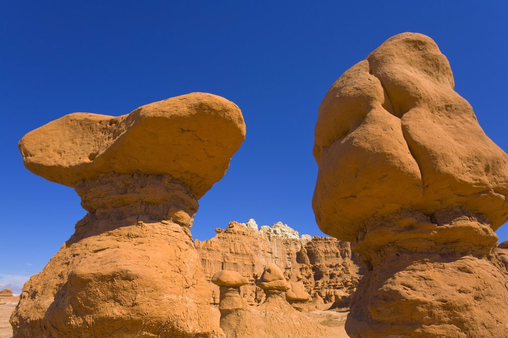 Stock Photo: 4201-41439 Sandstone hoodoos and other dramatic formations, autumn morning, Goblin Valley State Park, Utah