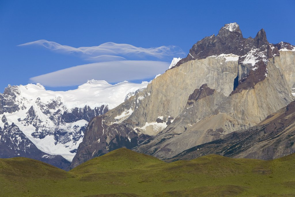 Cuernos del Paine peaks showing bands of granite and darker sedimentary stratum, Torres del Paine National Park, Patagonia, Chile : Stock Photo