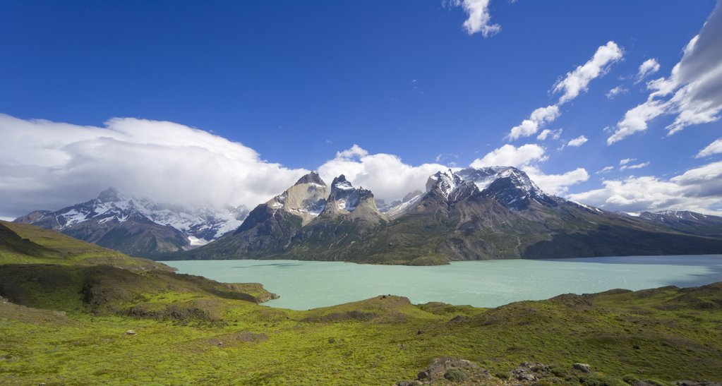 Stock Photo: 4201-42014 Panorama of Nordenskjold Lake surrounded by Cuernos del Paine peaks, Torres del Paine National Park, Patagonia, Chile
