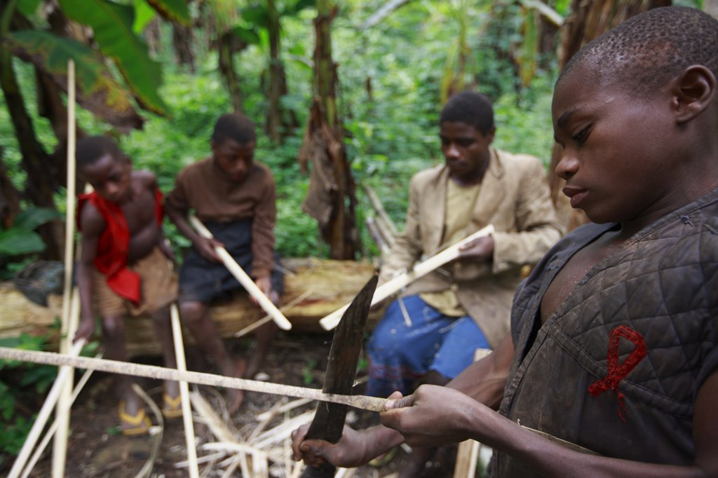Stock Photo: 4201-49211 Baka children making toy crossbows, Cameroon
