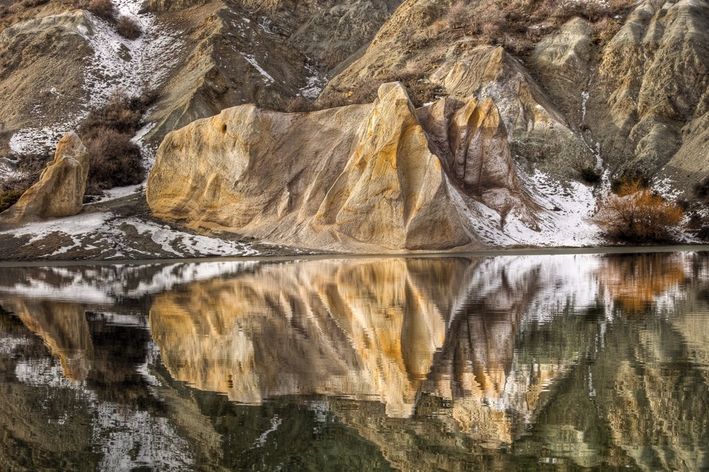 Stock Photo: 4201-52770 Reflections of clay cliffs in Blue Lake, St. Bathans, central Otago, New Zealand