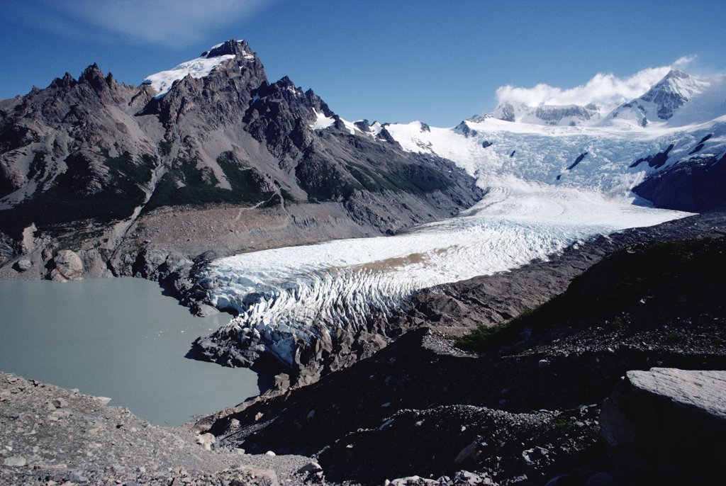 Stock Photo: 4201-537 Glacier spilling down from Cerro Torre, Los Glaciares National Park, Argentina