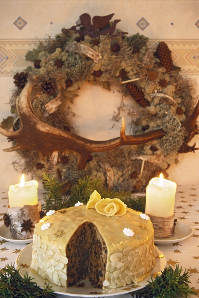 Marzipan cake with candles and wreath, Holland : Stock Photo
