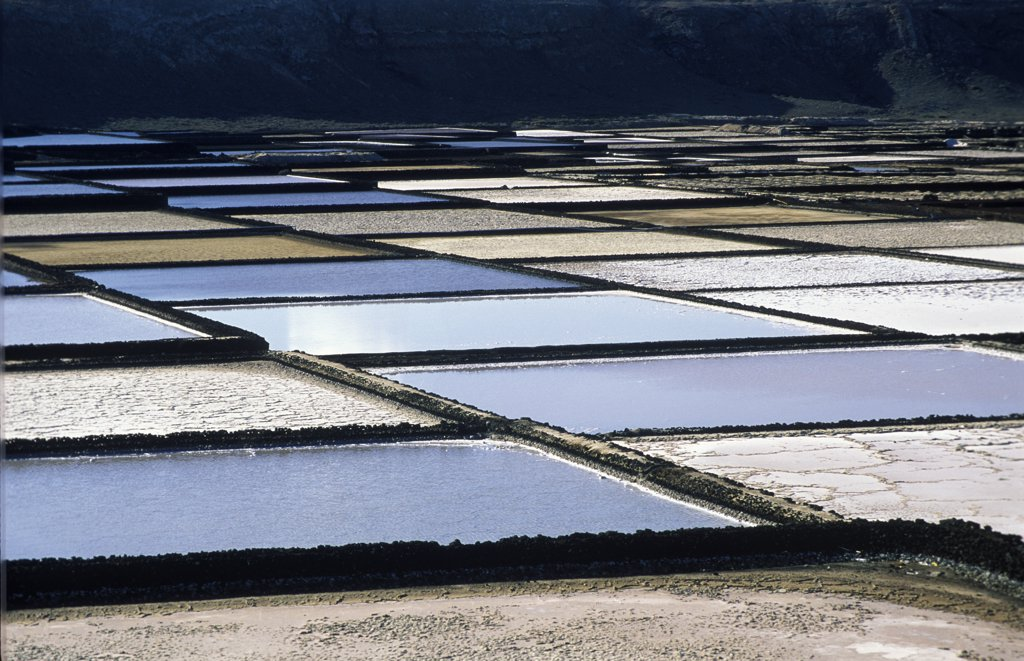 Stock Photo: 4201-66395 Old evaporative salt ponds of Janubio near Lanzarote, Canary Islands, Spain